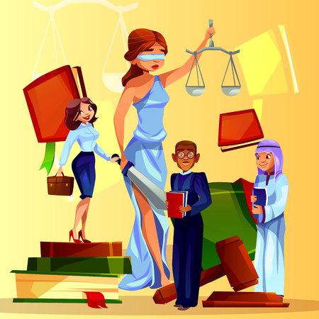 Gerichts- und Gesetzgebungsvektorillustration von Karikaturgesetzleuten und -symbolen. Themis Dame mit Justizwaage, Richterhammer und Gesetzbuch, saudi-arabischer Staatsanwalt und schwarzer afroamerikanischer Anwalt
