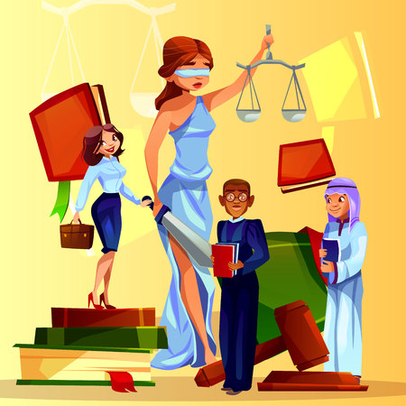 Court and legislation vector illustration of cartoon law people and symbols. Themis lady with justice scales, judge gavel and law code, Saudi Arabian prosecutor and black Afro American lawyer man Illustration