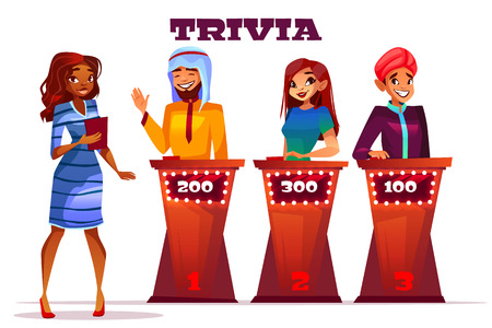 Quiz trivia game show vector illustration. Black Afro American woman presenter question players of Saudi Arabian and Indian man with answer and score buttons