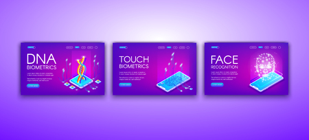 DNA, touch and face biometrics vector illustration of personal identity recognition and authentication technology. Fingerprint scan and human body sensor in smartphone on purple ultraviolet background