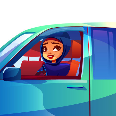 Arab woman driving car vector illustration of modern rich girl in Saudi Arabia hijab and khaliji looking smiling from automobile window