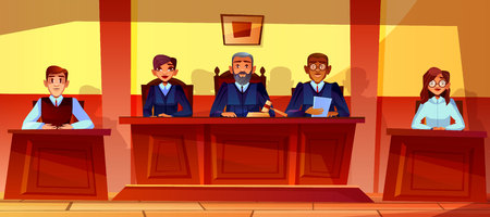 Judges at court hearing vector illustration of courtroom interior background. Prosecutor or advocate man, legal secretary woman or black Afro American assessor in glasses sitting at judge table Imagens - 114793413