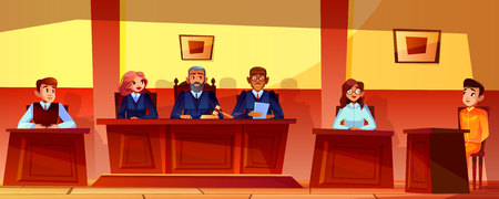 Court hearing vector illustration of courtroom interior background. Judges, prosecutor or advocate man, legal secretary woman and accused or defendant sitting at judge table Ilustração