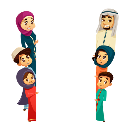 cartoon arab khaliji family characters peeping from behind empty blank space White paper muslim poster background template. Saudi emirates man woman parents boy girl kid. National hijab people