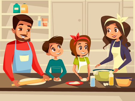 Modern family together cooking at kitchen cartoon flat illustration. Happy European Caucasian family preparing meal food at kitchen of happy father and mother with daughter and son children Stock Photo