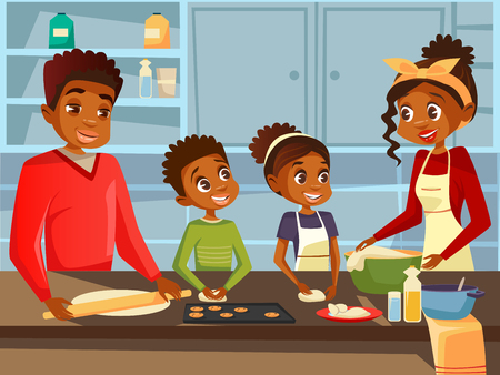 Afro American black family together preparing food meal at kitchen flat cartoon illustration. African family of happy father and mother with daughter and son children cooking together