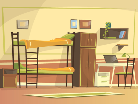 cartoon student dormitory room interior background template. University, high school college, hostel living apartment. Illustration with bunk bed, wardrobe workplace desk chair laptop bookshelf Standard-Bild