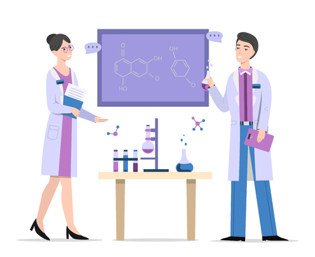 Chemists in laboratory vector illustration of man and woman scientists or boy and girl students discussing formulas at blackboard. People or doctors in chemistry lab for research science