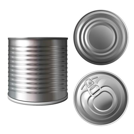 Boîte en métal ou illustration vectorielle en étain d'un conteneur réaliste 3D pour conserves ou conserves alimentaires. Modèle de maquette vide en aluminium isolé en haut, en bas et sur les côtés avec couvercle fermé pour le modèle de conception de marque