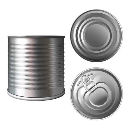 Metal can or tin vector illustration of 3D realistic container for food preserves or conserves. Isolated aluminum empty mockup model top, bottom and side with closed lid for brand design template