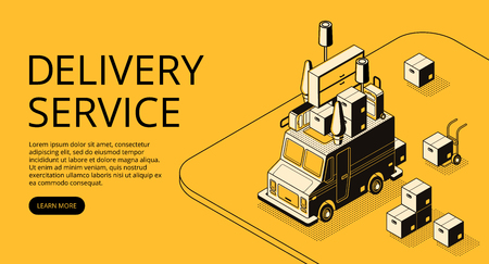 Delivery service vector illustration of loader truck with furniture for moving or store order shipping. Logistics transport thin line art and isometric black halftone design on yellow background Ilustração