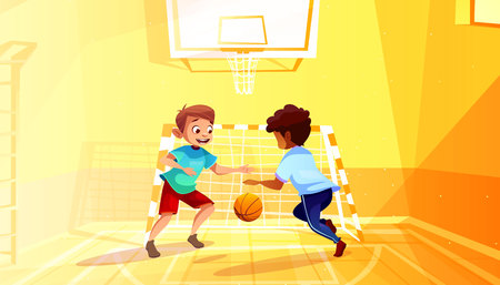 Boys playing basketball vector illustration of black Afro American kid with ball in school gymnasium. Little children in sport hall interior cartoon background Çizim