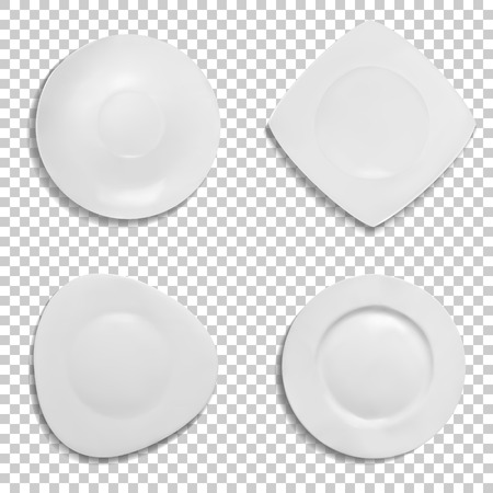 Plates different shapes vector illustration. Isolated 3D realistic models of ceramic or porcelain white tableware in round, square and triangle form with soft edges for soup, salad or appetizers Illustration