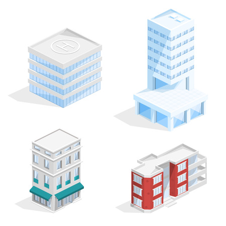 City buildings vector illustration of isometric residential houses and business center offices, houses with balcony and helicopter platform or helipad. Isolated modern architecture models