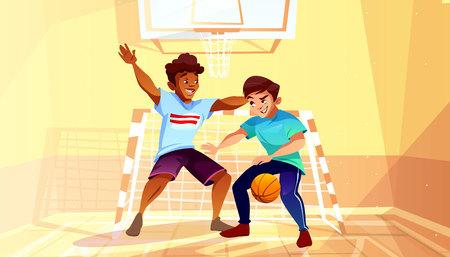 Chłopcy grający w koszykówkę wektor ilustracja czarny Afro amerykański nastolatek lub młody człowiek z piłką w gimnazjum college'u lub uniwersyteckiego. Mężczyźni w tle wnętrza hali sportowej