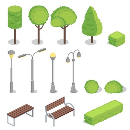Illustrazione vettoriale di parco pubblico di modelli isometrici di alberi, lampioni e panchine con alberi di siepi verdi per la progettazione di elementi di costruzione. Set isolato su sfondo bianco