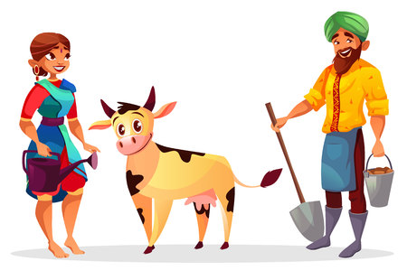 Indian farmers and cattle vector illustration of man and woman in sari with cow. Cartoon farming people with spade and bucket for harvest planting and watering can Vettoriali
