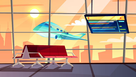 Airport terminal vector illustration of waiting hall with departure or arrival flight schedule and passenger chairs. Vector cartoon interior background with airplane take off in window Illustration