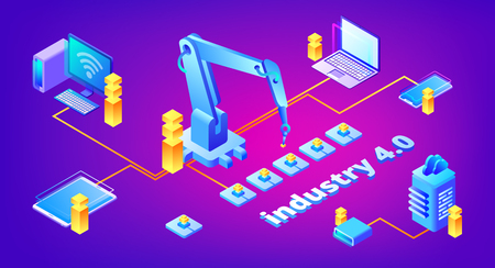 Industry 4.0 technology vector illustration of automation and data exchange system for manufacturing. Smart factory communication with computer network server and smartphone on ultraviolet background