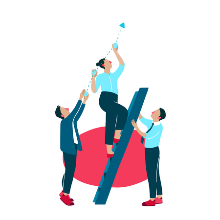 Business growth improvement vector illustration. Company people or managers on ladder apply efforts for company success development and promotion holding or lifting diagram chart up Ilustração