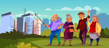 Vector group of old people with selfie stick at green park. Cartoon senior characters making photo. Trendy modern grandparents walk outside. Happy pensioners at retirement.