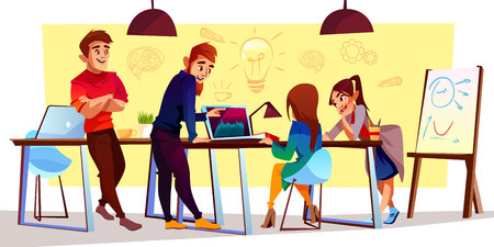 Vector cartoon characters at coworking center, creative space. Freelancers, designers work together, stand and discuss corporate project. Collaboration of young people, modern business, teamwork