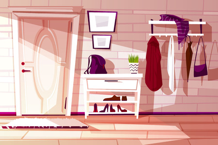 Vector cartoon home interior, hallway with furniture - shelf, rack and hangers with clothes. Cozy antechamber with white door and carpet. Corridor to exit, lobby. Indoor background. Ilustracje wektorowe