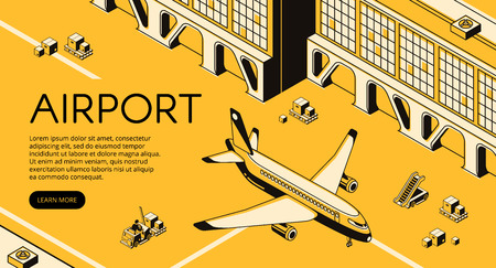 Airport freight logistics vector illustration of airplane, parcels on forklift loader pallet and passenger ladder. Delivery shipping and transit air transport isometric line and yellow halftone design Ilustração