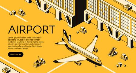 Logistique de fret aéroportuaire illustration vectorielle d'avion, colis sur palette de chargeur de chariot élévateur et échelle de passagers. Ligne isométrique d'expédition de livraison et de transport aérien en transit et conception en demi-teinte jaune