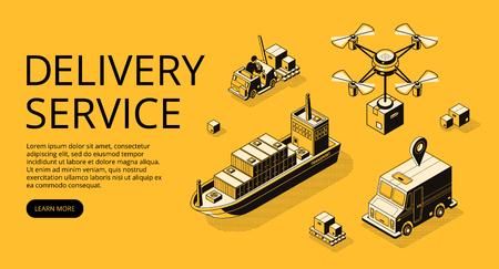 Ilustración de vector de transporte de servicio de entrega de carga aérea, carga de barco o avión no tripulado y camión con cajas de paquetería. Tipos de envío y logística línea delgada negra isométrica sobre fondo de semitono amarillo Ilustración de vector