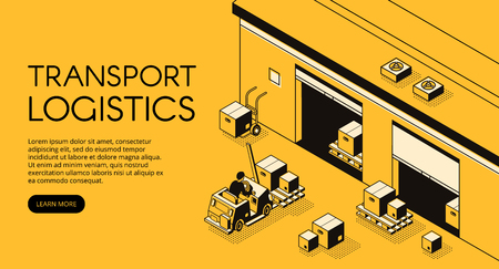 Warehouse transport logistics vector illustration of storehouse worker on loader truck pallet with parcels and boxes for delivery shipping. Isometric black thin line art on yellow halftone background