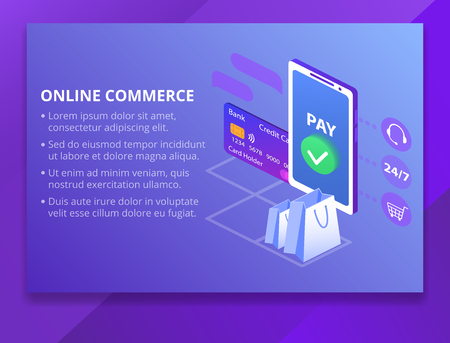 Online commerce vector illustration for e-business or e-commerce technology. Mobile app for payment with credit card and web banking customer or client call center and shopping cart of mobile trade
