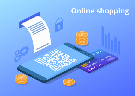 Online shopping vector illustration for digital retail and mobile trade. Credit card, money coins and shop QR code of web store purchase receipt in smartphone with secure payment technology
