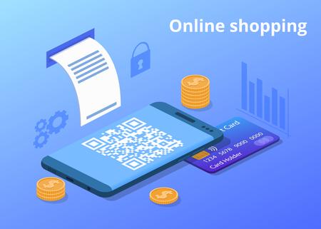 Online-Shopping-Vektor-Illustration für den digitalen Einzelhandel und den mobilen Handel. Kreditkarte, Geldmünzen und Shop-QR-Code des Kaufbelegs des Webshops im Smartphone mit sicherer Zahlungstechnologie Vektorgrafik