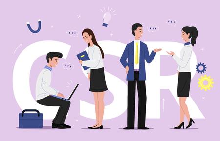 Illustrazione vettoriale di responsabilità sociale delle imprese SCR della gestione della sostenibilità aziendale. Uomini e donne del team aziendale con laptop che discutono su piani e progetti sociali del marchio con bolle di chat