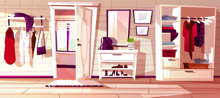 Vector cartoon hallway with open white door. Interior background of house. Furniture - closet with shelves, rack and hangers with clothes. Cozy antechamber with window, carpet. Corridor to exit, lobby Illustration