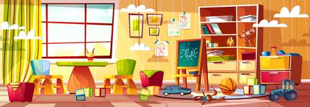 Asilo del fumetto di vettore per bambini, parco giochi con finestra. Cose ricreative, interno della stanza dei bambini, scuola materna. Giocattoli per insegnare ai bambini: cubi, automobili e lavagna.