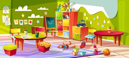 Illustration vectorielle intérieure de la maternelle ou de la chambre d'enfant. Fond de dessin animé vide avec des jouets pour enfants, des tables ou des chaises molles et des boîtes à tiroirs ou des crayons pour dessiner et peindre