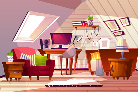 Illustration vectorielle intérieur de chambre mansardée. Arrière-plan de conception de grenier de dessin animé de meubles de chambre ou de salon de fille avec fenêtre dans le toit, ordinateur sur table et chaise avec lit et étagère Vecteurs