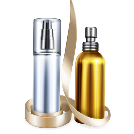 Perfume and cosmetic bottles vector illustration of 3D realistic isolated mockups for premium brand design with gift ribbon. Metallic golden sprayer and moisturizer container with silver dispenser cap Illustration