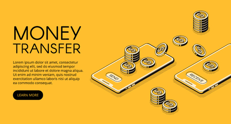 Geldtransfervektorillustration des Online-Bankings in der Mobiltelefonanwendung. Isometrisches schwarzes dünnes Linien-Design der Sende- und Empfangs-Smartphone-Transaktionstechnologie auf gelbem Halbtonhintergrund
