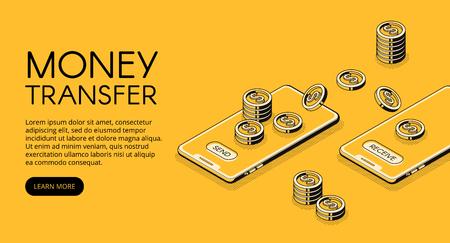 Illustration vectorielle de transfert d'argent de la banque en ligne dans l'application de téléphonie mobile. Conception de ligne mince noire isométrique de la technologie de transaction d'envoi et de réception de smartphone sur fond de demi-teinte jaune