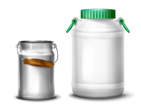 Milk container vector illustration of retro metal aluminum can or plastic water jar with cap and handles. Isolated realistic 3D mockups on white background