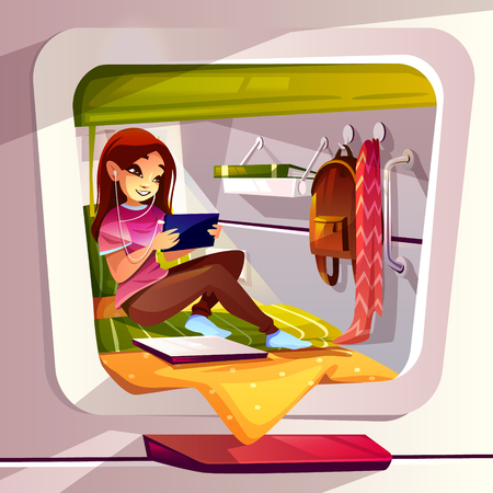 Girl in capsule hotel vector illustration of traveler young woman in pod hostel chatting on smartphone or watching internet tablet. Room interior of bed, shelf and clothes hanger or window Vectores