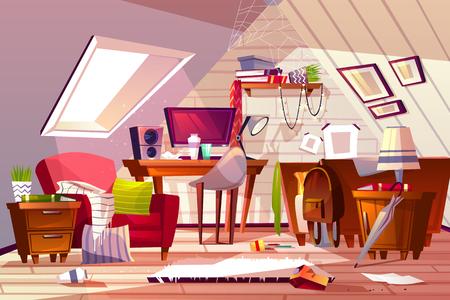 Illustration vectorielle intérieure de salle malpropre. Grenier ou grenier de dessin animé dans le désordre. La chambre ou le salon de fille s'amincit dans le chaos, la poussière sur les meubles et les vêtements éparpillés sur la chaise et le lit ou la toile dans le coin