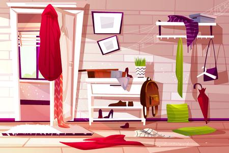 Illustrazione di vettore interno disordinato della stanza del corridoio del corridoio dell'appartamento retrò o ingombro di ingresso del negozio. Armadio cartone animato con vani negozio e abbigliamento sparsi sul pavimento e rete polverosa sullo scaffale Vettoriali