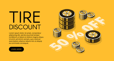 Tire discount vector illustration of car store or replacement and fitting service. 50 percent promo offer for automotive garage station isometric black thin line design on yellow halftone background Illustration