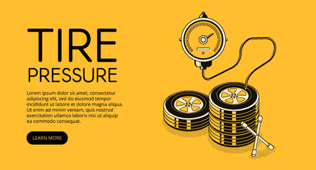Tire pressure pumping vector illustration of car auto service station advertisement. Manometer and lug wrench tool in isometric black thin line design on yellow halftone background