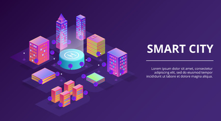 Smart city vector illustration of town infrastructure and modern buildings. Isometric innovation technology concept for residential houses and business offices in on purple ultraviolet background
