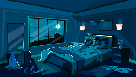 Lovers sleep in bed vector illustration of bedroom in night with scattered undressed clothes in passion hurry. Cartoon interior background with man and woman under blanket after sex